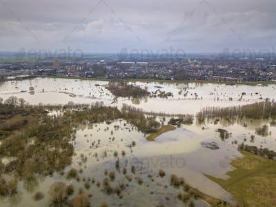 Inundated floodplains near Wageningen city