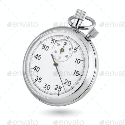 Classic mechanical analog stopwatch isolated on white