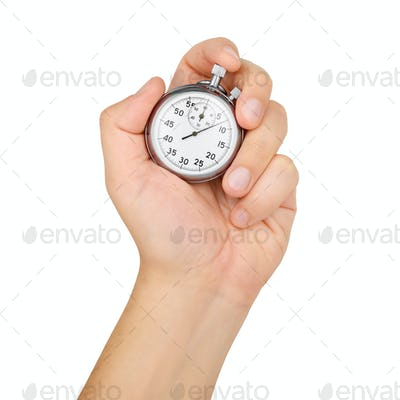 Hand hold mechanical analog stopwatch isolated on white