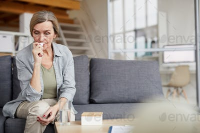 Crying Mature Woman at Home