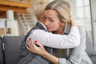 Grateful Patient Embracing Female Psychologist