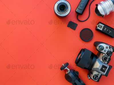 Camera and accessories on table, copy space