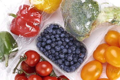 Vegetables and fruits in plastic containers