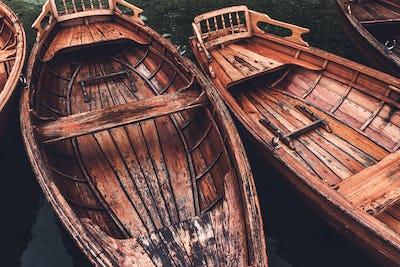 Wooden dinghy rowboat on lake Bohinj