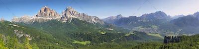 Distant massif of Croda di Lago and Cinque Torr, Dolomites, Italy