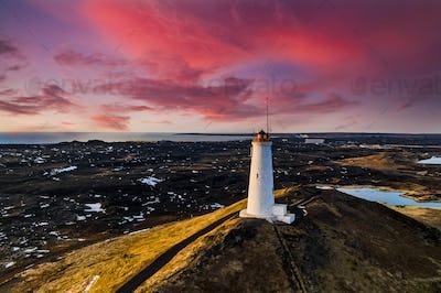 Reykjanesviti lighthouse on Reykjanes peninsula in Southern Iceland