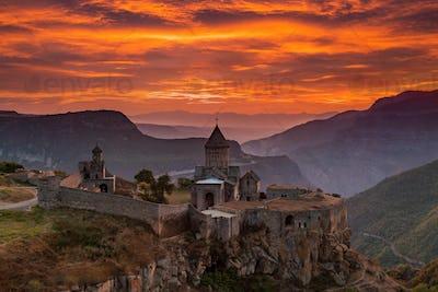 Tatev Monastery at sunrise in the mountains. Tatev, Armenia