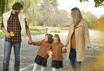 Happy family in actively spending time