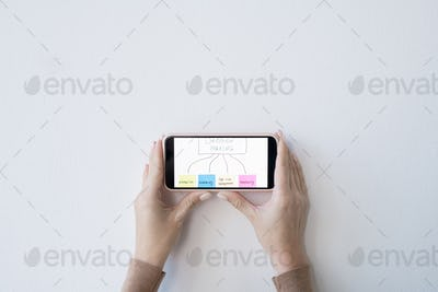 Flat layout of hands of businesswoman holding smartphone with flow chart