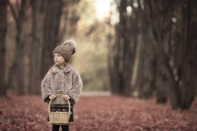 Adorable little girl with a basket outdoors at beautiful autumn park