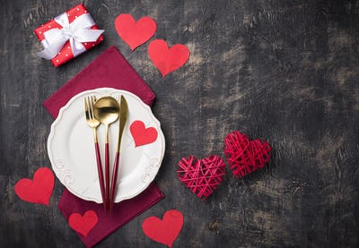 Valentines Day table setting with hearts