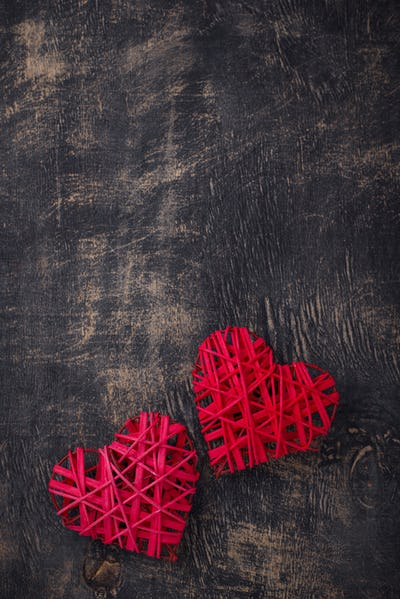 Valentines Day background with red hearts