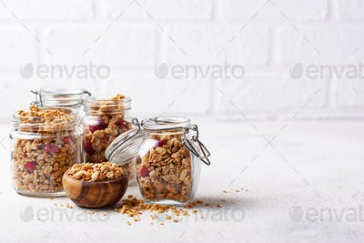 Homemade granola with dried berry