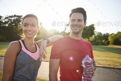 Young couple after workout on the fresh