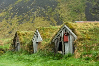 Abandoned Turf House Farm Buildings in Nupsstadur, Iceland