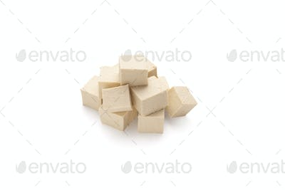 Cubes of soybean Tofu cheese, isolated on white