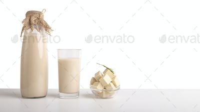 Bottle and glass of soy milk and tofu cheese portion