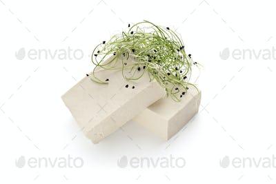 Asian soybean tofu cheese with fresh microgreen