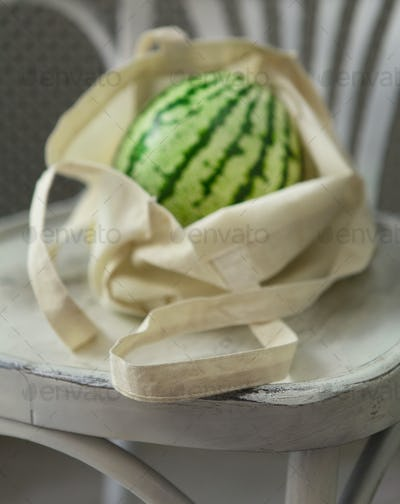 Organic big watermelon in zero waste shopping bag on chair