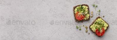 Rye bread vegetarian sandwiches with fresh avocado spread