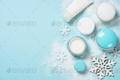 Natural cosmetics for winter on blue