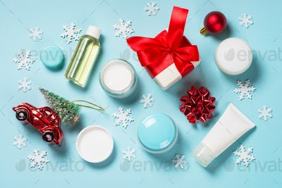 Natural cosmetics for winter with christmas decorations