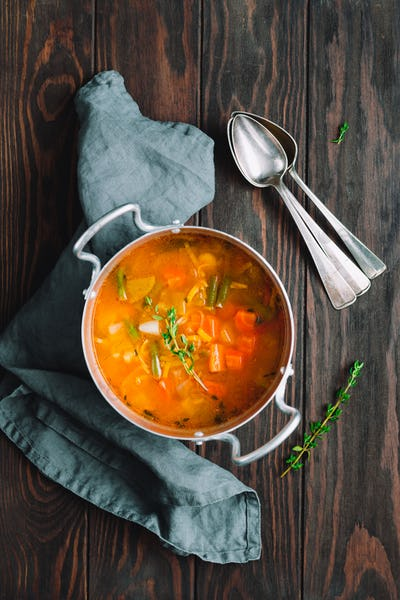 Vegetable soup with chicken stock