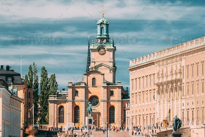 Stockholm, Sweden. Scenic View Of Stockholm Old Town. Great Church