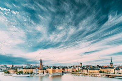 Stockholm, Sweden. Scenic Famous View Of Embankment In Old Town Of Stockholm At Summer.