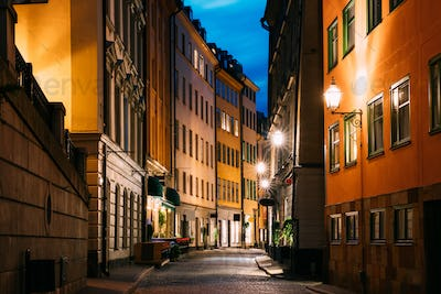 Stockholm, Sweden. Night View Of Traditional Stockholm Street.