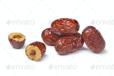 Heap of Chinese red dates and a halved one