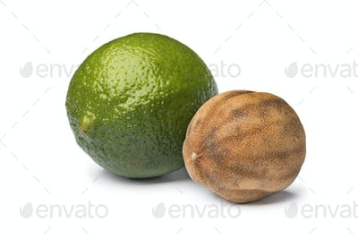 Fresh green and dried whole white limes