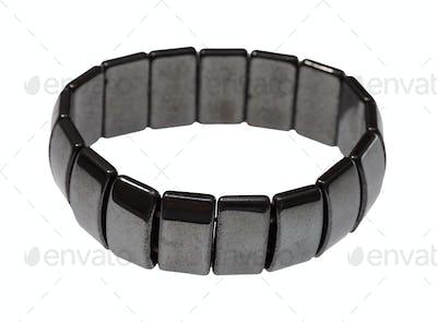 bracelet from polished hematite slabs isolated