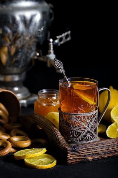 Russian tea from samovar
