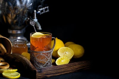 Russian tea from samovar background