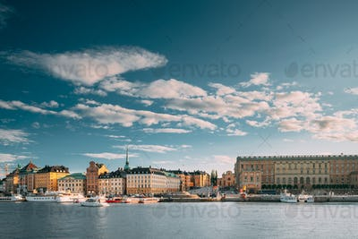 Stockholm, Sweden. Scenic Famous View Of Embankment In Old Town Of Stockholm At Summer. Gamla Stan
