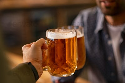 Toasting pint of beer glasses