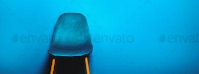 Modern Blue Velour Chair on wooden legs
