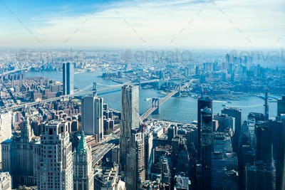 Amazing panorama view on New York City skyline and Brooklyn Bridge