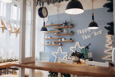 Christmas kitchen interior. Christmas holidays Christmas presents