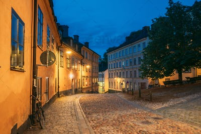 Stockholm, Sweden. Night View Of Traditional Stockholm Street. Residential Area, Cozy Street In