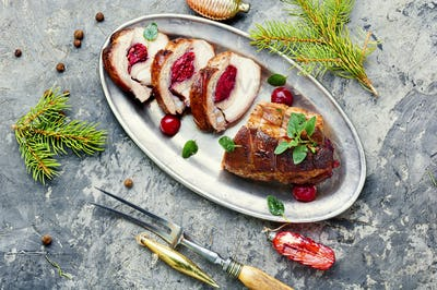 Christmas meatloaf with cherry
