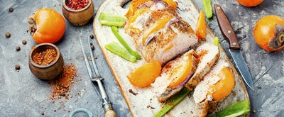 pork fillet with persimmon