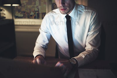 The lawyer sitting at workplace and typing