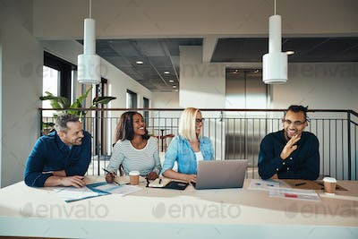 Diverse group of businesspeople having a meeting in an office