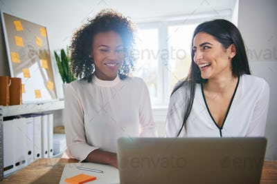 Two vivacious young businesswomen