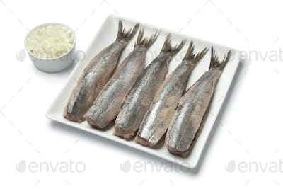 Traditional fresh herring with onions