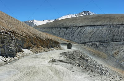 View of hairpin turns and mountains in Taglang La pass, Ladakh, India