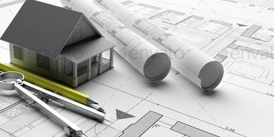 House model on blueprints background, engineer contractor office. 3d illustration