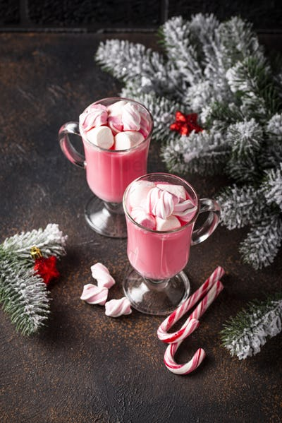 Ruby hot chocolate or pink cocoa